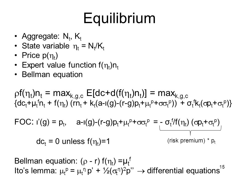 Equilibrium f(t)nt = maxk,g,c E[dc+d(f(t)nt)] = maxk,g,c